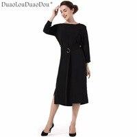 DuaoLouDuaoDou Trang Phục thiết kế Ban Đầu chất lượng cao Loose halter cổ tròn bat cổ tay sleeves solid color chia phụ nữ dresses
