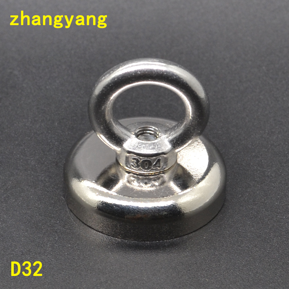 1PCS powerful hole salvage magnet pot magnets D32 with ring permanent Neodymium salvage fishing hook magnet Diameter 32mm salvage футболка