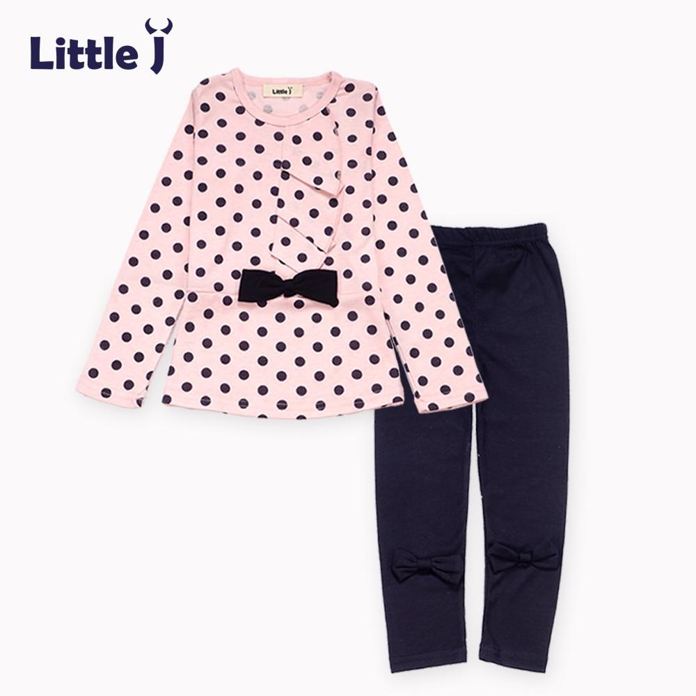 Clearance 2pcs Bow Girl Clothes Sets Polka Dot Long T-Shirt+Long Leggings Pants Kids Clothing Set Spring Autumn Girls Clothing