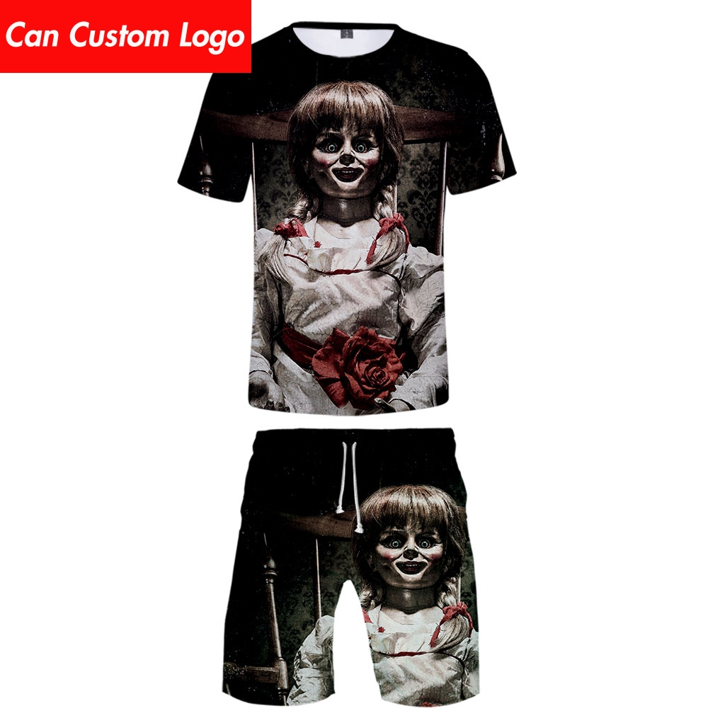 2019 Annabelle Two Piece Set Tshirt And Shorts Harajuku Men Annabelle T Shirt Streetwear Harajuku Short Sleeve Plus Size