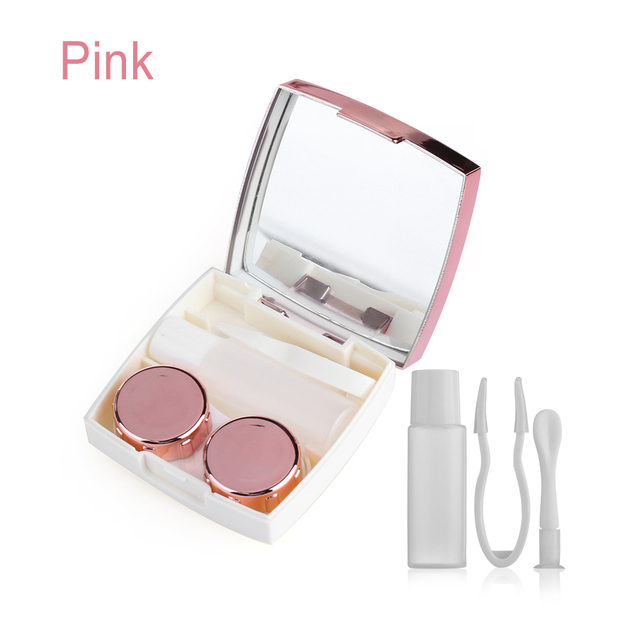 1PC Fashion Plastic Contact Lens Mirror Case Lenses Storage Box Travel Size Portable Multi-purpose Eye Lashes Container