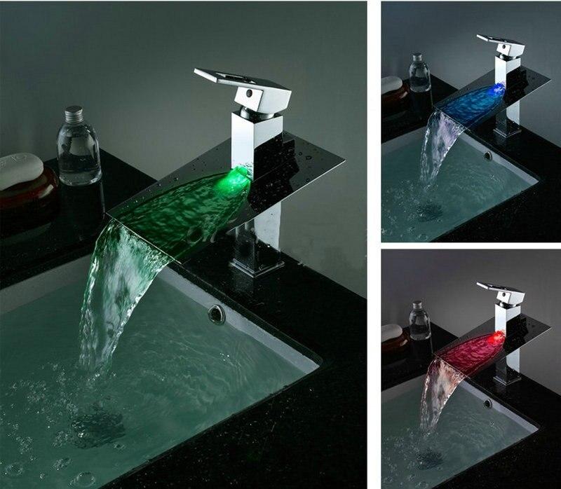 Светодиодный Водопад смеситель Твердый латунный Смесители, смесители и краны раковина смеситель Ванная комната смеситель jn6101
