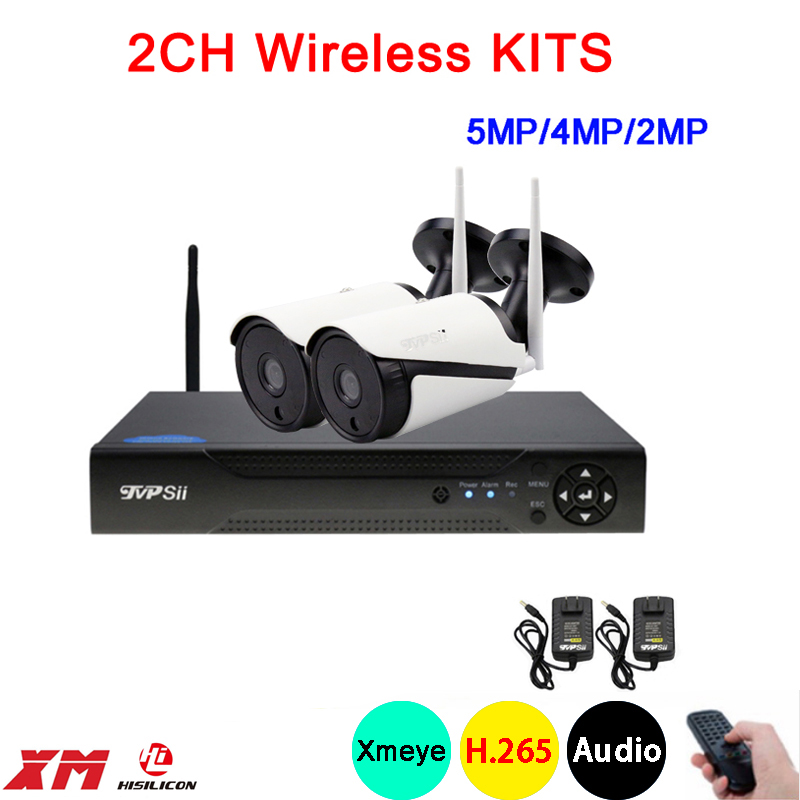5mp 4mp 2mp White 36pcs Infrared Waterproof Audio H 265 25fps 2CH 2 Channel WIFI Wireless