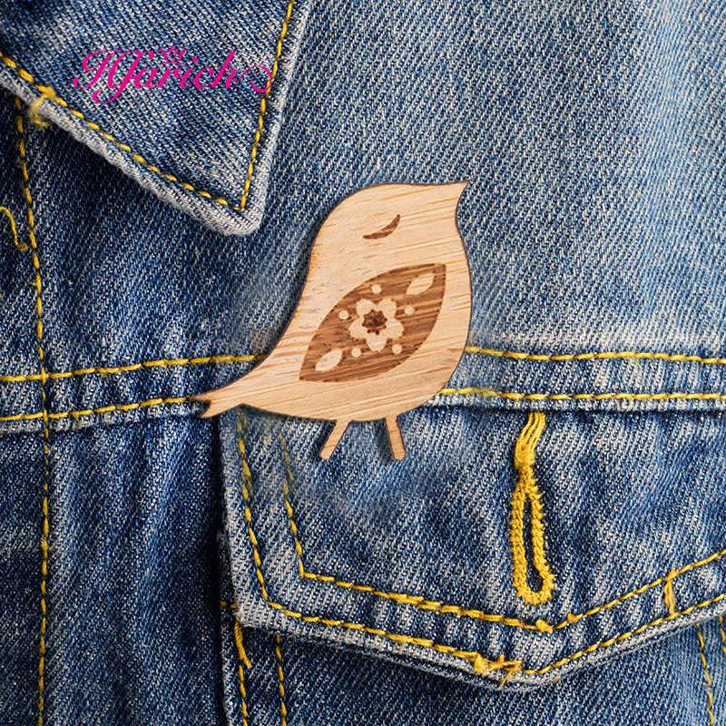 Hfarich новые эмалированные булавки милые птичьи нагрудные булавки брошки каваи ювелирные изделия животных Броши для женщин модные деревянные заколки аксессуары