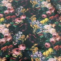 Rose Printed Synthetic PVC Leather Fabric For Handbag Material