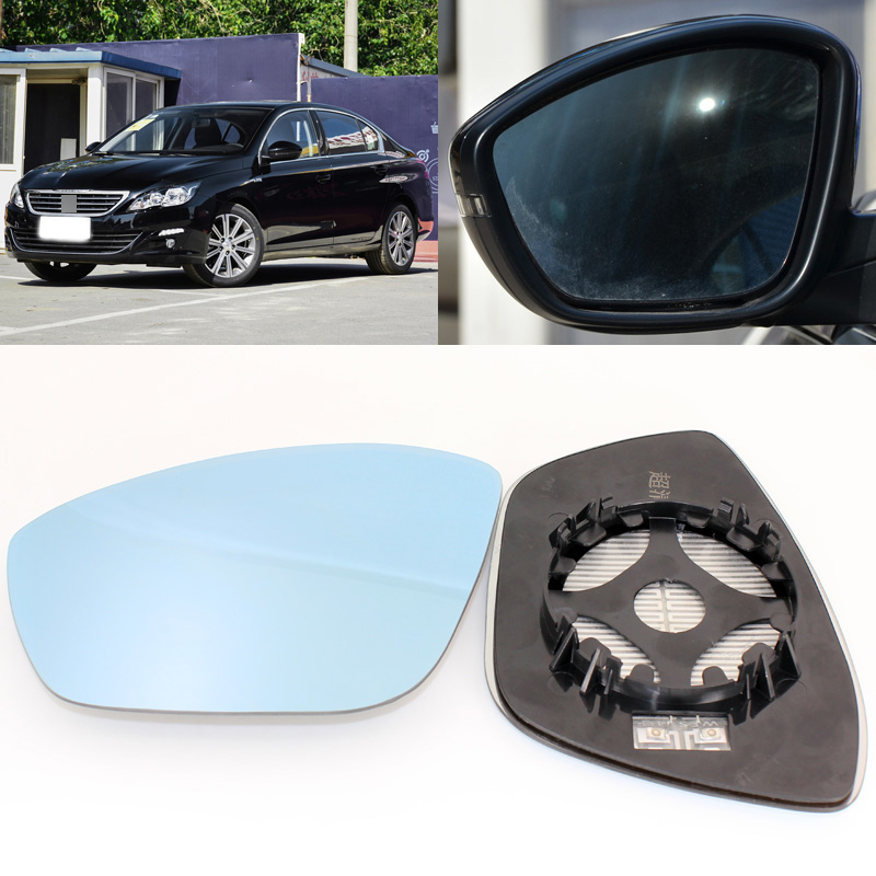 For <font><b>Peugeot</b></font> <font><b>408</b></font> 2010-2018 Side View Door <font><b>Mirror</b></font> Blue Glass With Base Heated 1 Pair image