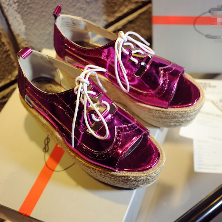 ФОТО 2015 summer style shoes woman 7CM high heel platform sandals Genuine Leather  Peep Toe Flats Women's Gladiator Sandals 3colors