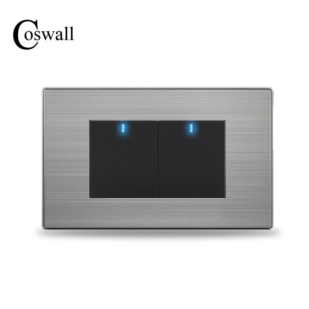 COSWALL US estándar 2 Gang interruptor de luz de pared de botón de 2 vías con indicador LED Panel de acero inoxidable 118mm * 72mm