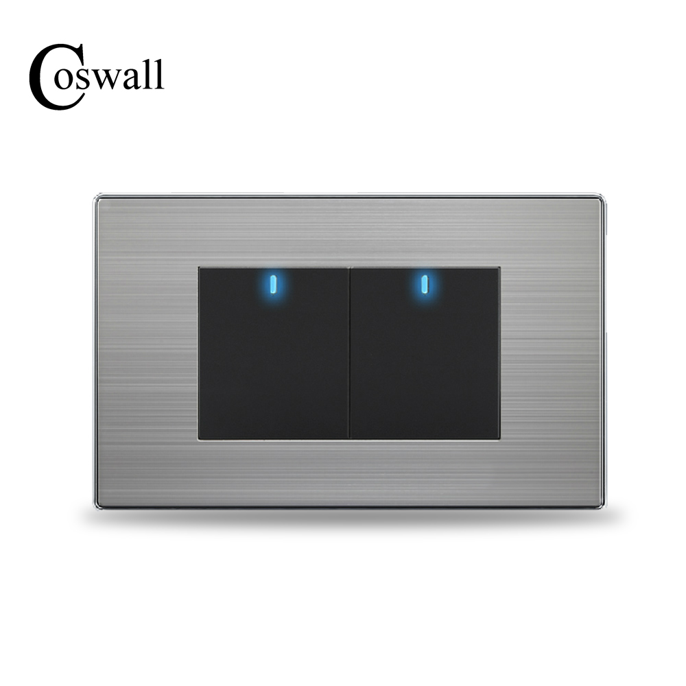 COSWALL UNS Standard 2 Gang 2 Way Taster Wand Lichtschalter Mit Led-anzeige Edelstahl Panel 118mm * 72mm