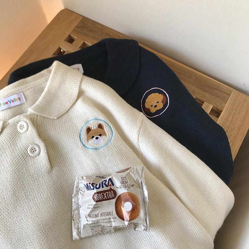 2 Farben 2018 Herbst Und Winter Koreanische Kurze Cartoon Hund Stickerei Gestrickte Pullover Frauen Pullover Und Pullover (f1320)