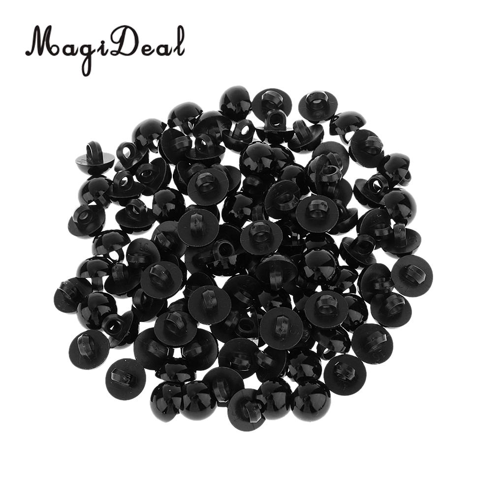 MagiDeal 100Pcs Mushroom Button Domed Sewing Plush Animal Eyes for Baby Clothes Doll Bear DIY Craft Toy Black 10mm