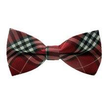 1pcs striped Cotton MENS Luxury 2 Layer Beige Red Black Tartan Dickie Bow Tie Ties Adjustable