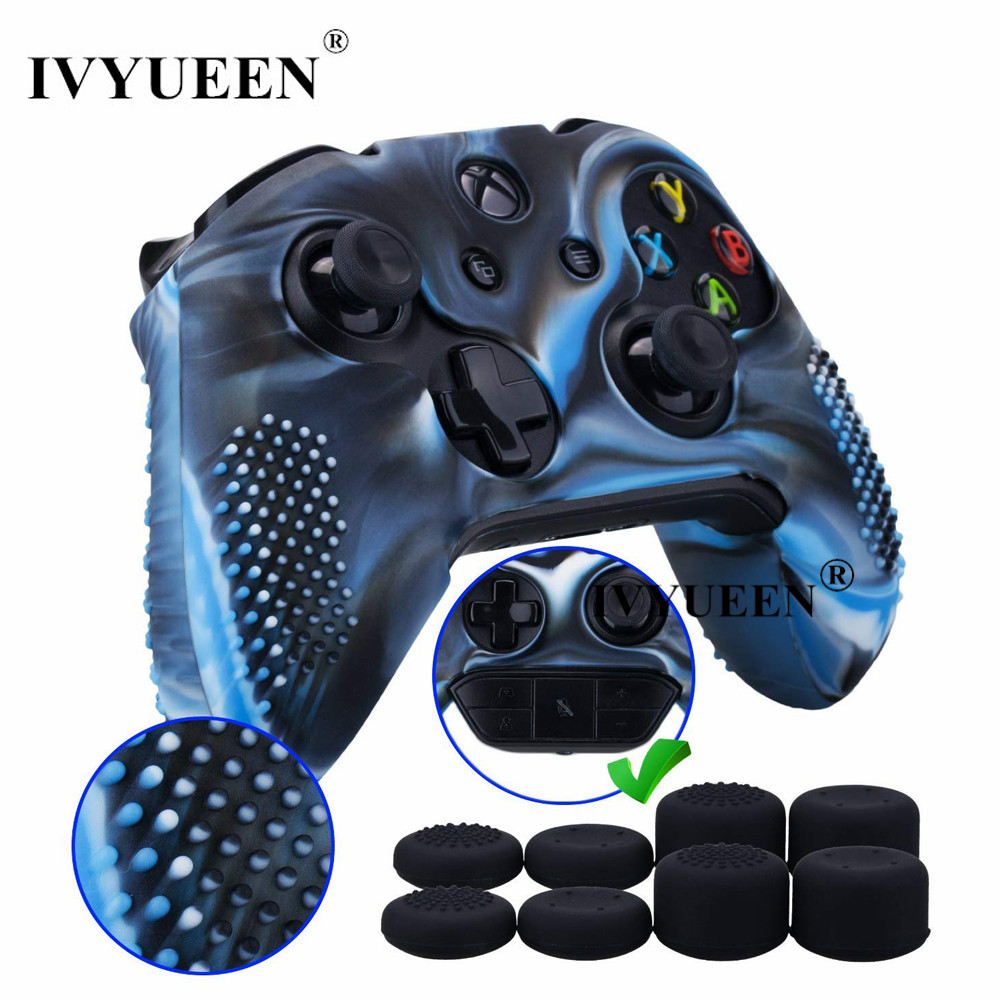 IVYUEEN 9 In 1 For Xbox One X S Controller Silicone Case Skin + 8 PCS Analog Thumb Stick Grip Caps For X Box One X Slim Joystick
