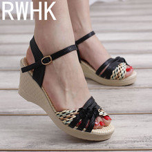 RWHK Korean version of the 2019 summer new wedge with fish mouth shoes Roman sandals muffin platform high heels B415