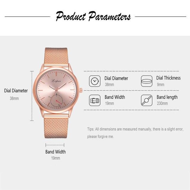 Lvpai 2019 Famous Brand Gold Silver Casual Quartz Watch Women's Casual Quartz Silicone strap Band Analog Wrist watch 5