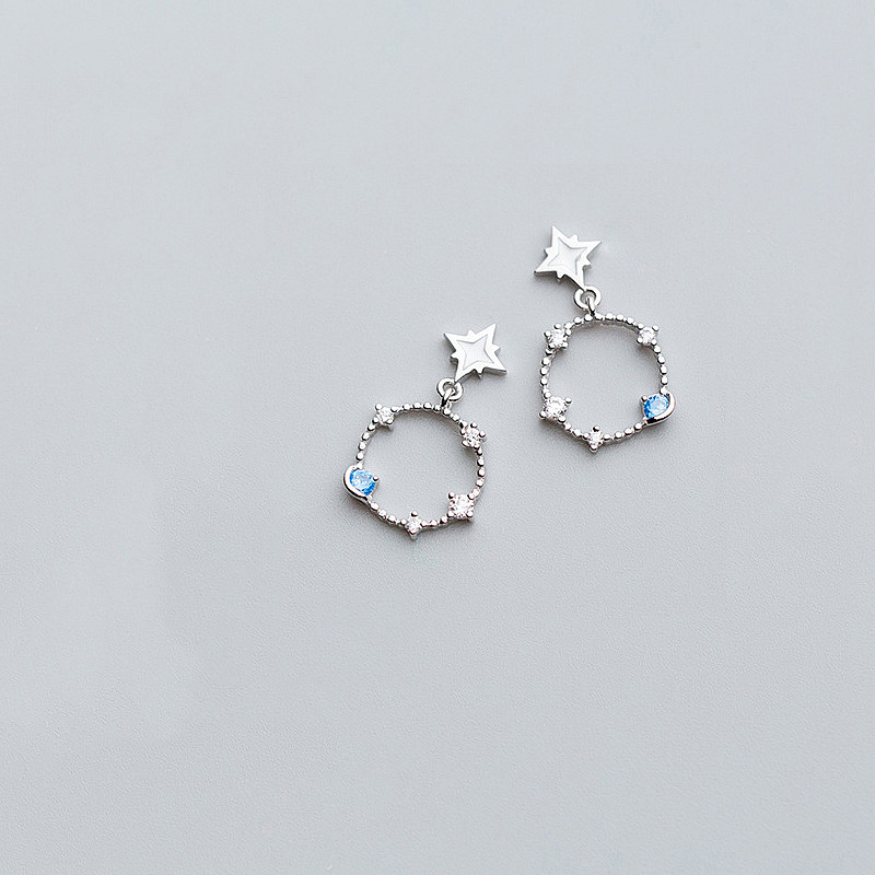 INZATT Real 925 Sterling Silver Exquisite Star Hollow Round Zircon Dangle Drop Earrings For Women Fine Jewelry Accessories