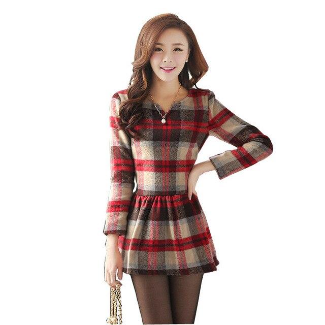 cca7ff200 Mulheres retro estilo da faculdade de Malha de algodão vestido de roupa  nova moda feminina Com