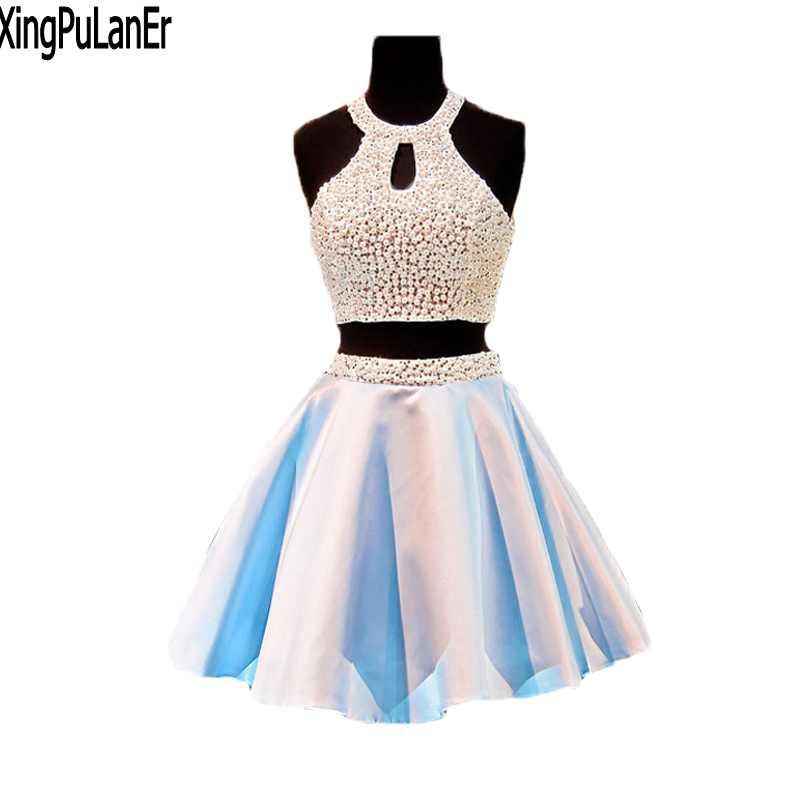 Пикантные Короткие платье для выпускного вечера голубой атласная юбка два предмета Дизайн Scoop с плеча Мини с открытыми плечами Бальные плат