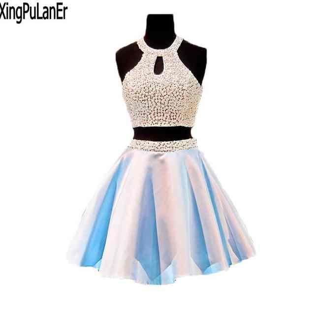 e2edd077710 Online Shop Sexy Short Prom Dress Light Blue Satin Skirt Two Piece Design  Scoop Off The Shoulder Mini Off The Shoulder Homecoming Dresses