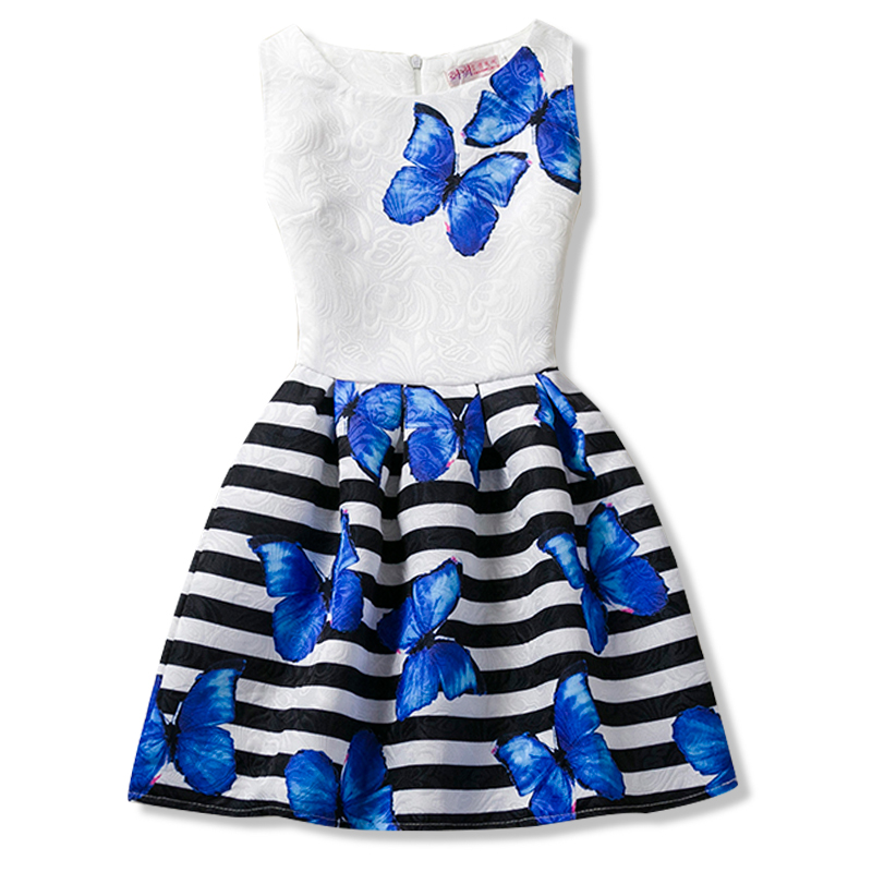 Flower Print Girl Dresses Wedding Dress For Baby Kids Party Costume Children Little Girls Frocks Teenage Girl Summer Clothes 12T girl dress kids wedding bridesmaid children girls dresses summer 2016 evening party princess costume lace teenage girls clothes
