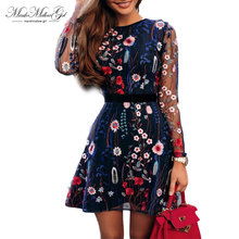 Sexy Women Floral Embroidery Dress See-through Black Dress Long sleeve Sheer Mesh Summer Dress Vestidos De Festa floral print see through dress