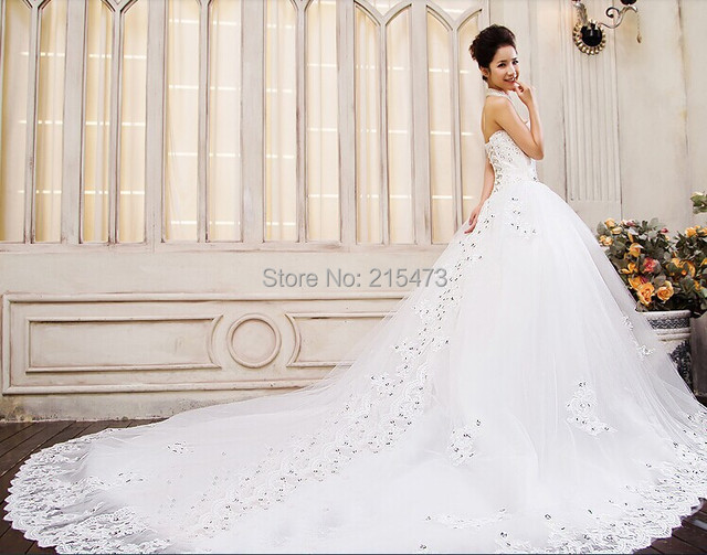 New Arrive 1 2meter Elegant Long Tail Bridal White Wedding Dress Lace Up Off Shoulder