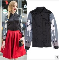 Brand Lady Fashion Paris Style Spring Summer Patchwork Black Silk Skirt Long Grey Sleeve Print Horse
