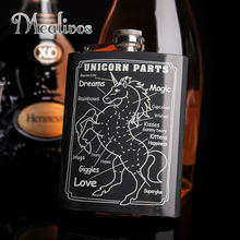 Mealivos fashion unicorn 8 oz 304 Stainless Steel Hip Flask drinkware Alcohol Liquor Whiskey Bottle gifts wine pot jagermeister