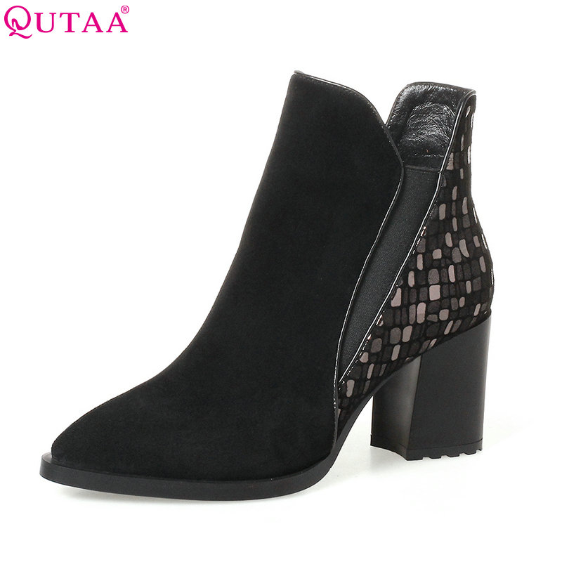 QUTAA 2018 Black Women Ankle Boots Square High Heel Pointed Toe Genuine leather Fashion Zipper Women Motorcycle Boots Size 34-42 qutaa 2018 women ankle boots fashion zipper square high heel pointed toe pu leather spring and autumn women boots size 34 43