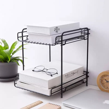 Double-layer Iron Storage Holders Creative Detachable Kitchen Bathroom Desktop Metal Shelves Multifunction Office File Organizer