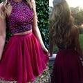 2 Pieces Sparkly Rhinestone Short Burgundy Homecoming Dresses 2016 Cheap Girls Graduation Party Dresses Custom vestido renda