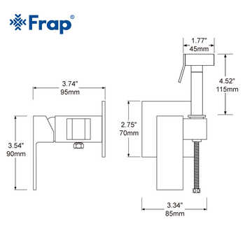 FRAP Bidet Faucets bathroom shower wall mounted bidet toilet faucet shower hygienic crane square bidet mixer portable sprayer