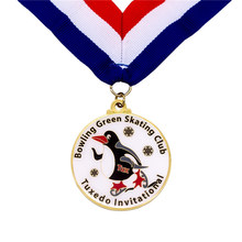 Medal hot sales cheap enamel medals custom metal painted color medal with tape ribbons