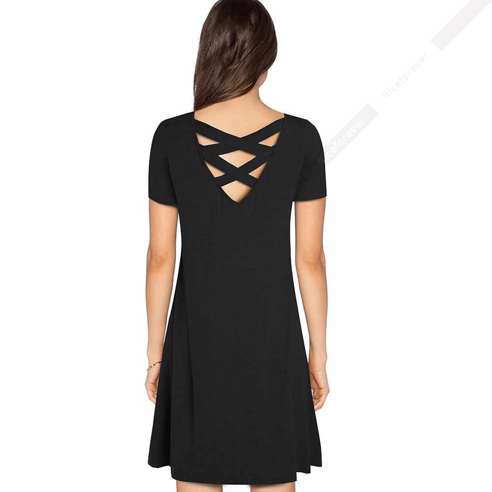 Женское повседневное короткое однотонное свободное платье с коротким рукавом на спине, прямое сексуальное летнее платье HA147