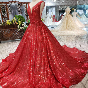 Image 3 - HTL185 robe rouge réfléchissante a ligne robes de soirée brillantes sexy col en v manches v back robes de soirée de mariage robe de soirée brillante
