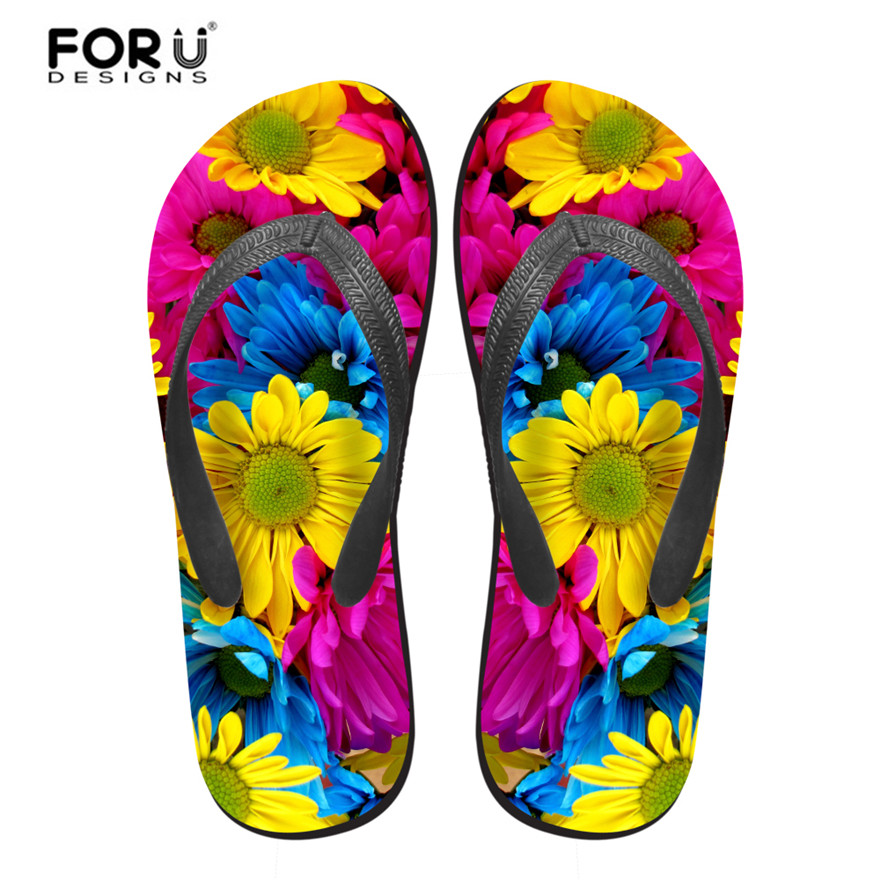 6ef5d1464c60 Brand Design Flowers Beach Slippers for Girls New Fashion Flat Heel Summer Shoes  Women Zapatos Mujer High Quality Flipflops-in Slippers from Shoes on ...