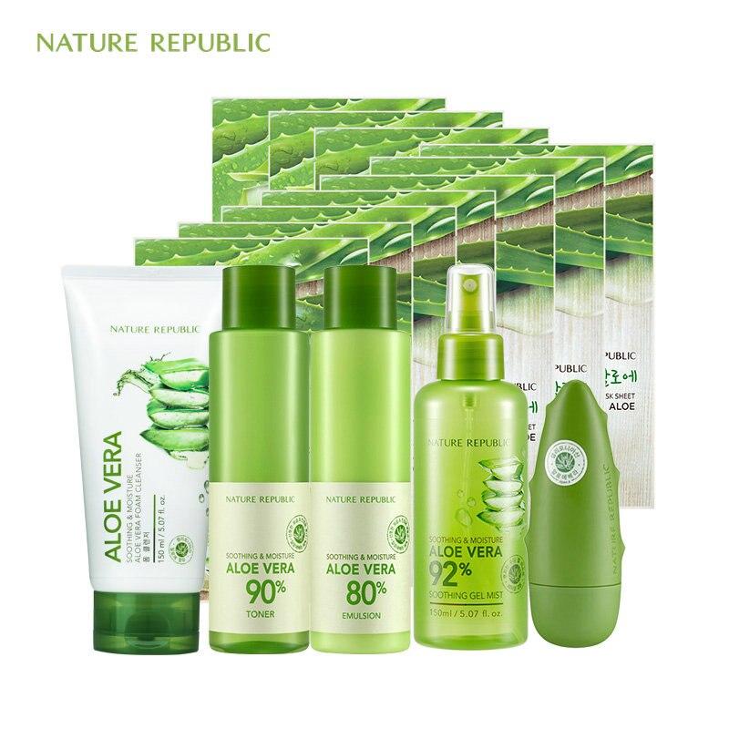 Nature Republic Natural Aloe Moisturizing Set Face Mask Emulsion Face Toner Face Cleaner Hand Cream Korean Skin Care Set