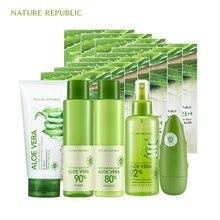 Nature Republic Natural Aloe Moisturizing Set Face Mask Emulsion Toner Cleaner Hand Cream Korean Skin Care