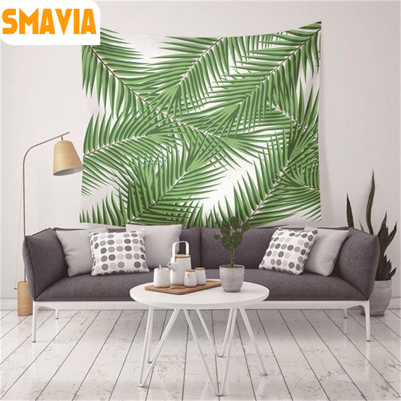 Smavia New Green Leaf Wall Hanging Tapestry Camping Beach