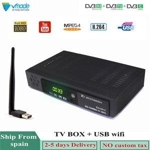 Image 1 - Vmade أحدث HD DVB بالكامل T2 S2 DVB C الأرضي الأقمار الصناعية كومبو مستقبل التلفاز H.264 HD 1080 p دعم AC3 DVB T2 s2 التلفزيون مربع + WIFI