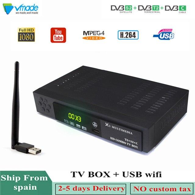 Vmade أحدث HD DVB بالكامل T2 S2 DVB C الأرضي الأقمار الصناعية كومبو مستقبل التلفاز H.264 HD 1080 p دعم AC3 DVB T2 s2 التلفزيون مربع + WIFI