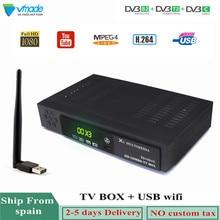 Vmade más nuevo totalmente HD DVB T2 S2 DVB C satélite terrestre Combo receptor de TV H.264 HD 1080 p soporte AC3 DVB t2 S2 caja de TV + WIFI