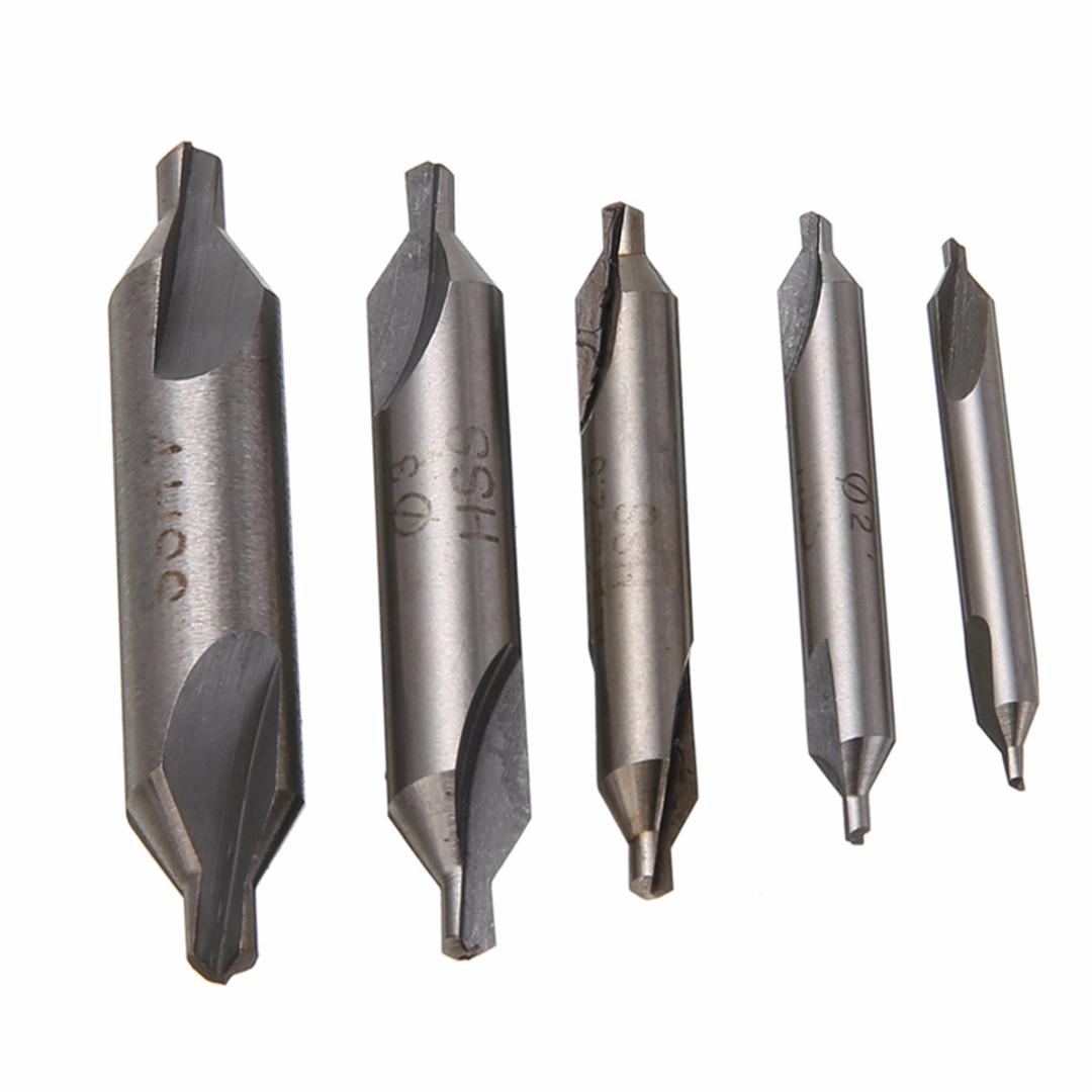 5pcs HSS Combined Center Drills Bits 60 Degree Countersink Drill Set Mayitr 1.5mm 2.0mm 2.5mm 3mm 4mm For Power Tools