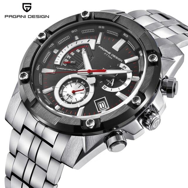 2ecbef861db45 باجاني تصميم أعلى أزياء العلامة التجارية الفاخرة الرجال كرونوغراف الأعمال  ساعة كوارتز الفولاذ المقاوم للصدأ للماء الرياضة ساعة رجالي