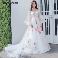 Real Pictures Beach Wedding Dress 2018 Spaghetti Strap Colorful Embroidery Lace Boho Wedding Gowns Pregnant Photography Dress