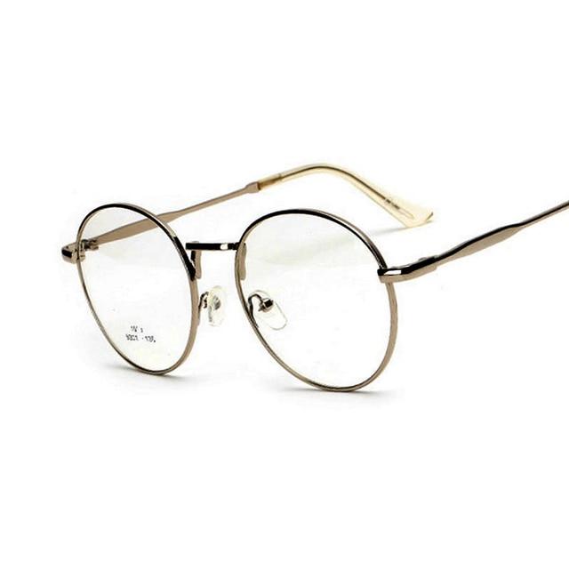 caa91f70cc571 Mulheres Estilo Retro Óculos de Armação Simples Espelho Do Vintage Grande  Rodada Liga Frame Ótico de