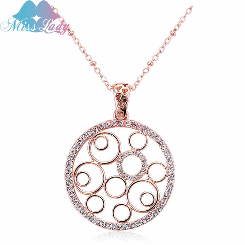 Miss Lady gold necklace & Pendant Couple matching Chokers Chains Fashion Crystal Hollow Round Heart pendants necklaces MLY4289