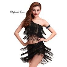 Multi-Color One Shoulder Women Party Dance Dress Salsa Tango Cha Cha Latin Dancewear