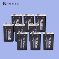 PALO new 9v rechargeable battery Lithium Rechargeable Battery 8pcs/lot 6F22 006p 9V Battery For radio wireless microphones etc