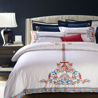 Flower embroidery bedding sets white linens Queen King size duvet cover set sheets sets